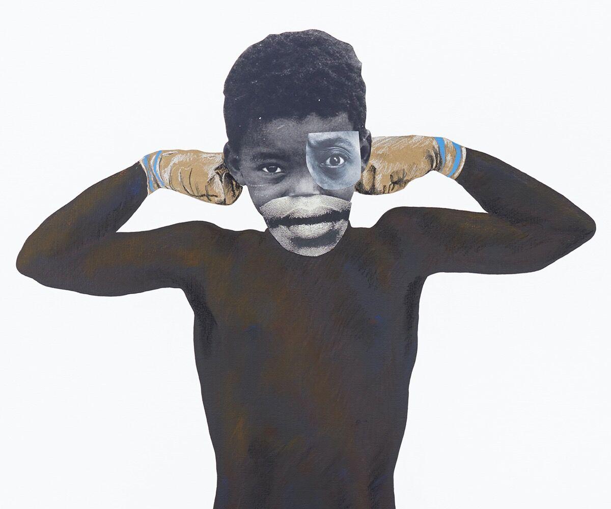 Deborah Roberts, detail of Man[ly], 2019. © Deborah Roberts. Courtesy of the artist and Stephen Friedman Gallery, London.