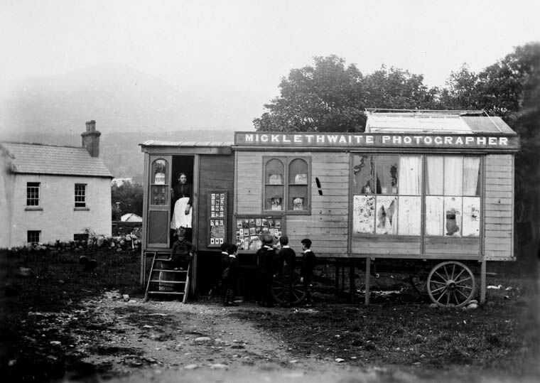 The traveling photography studio of William Barton Micklethwaite, in Ireland, circa 1850–60s. Image via Wikimedia Commons.