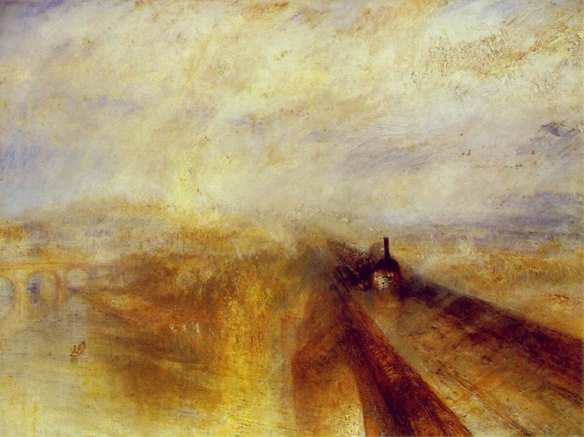 James Mallord William Turner, Rain, Steam and Speed - The Great Railway, 1844. Image via Wikimedia Commons.