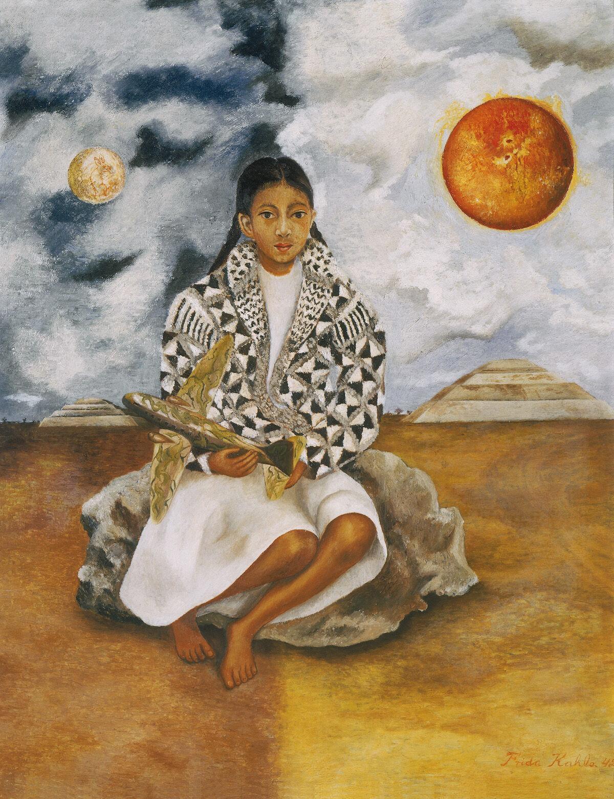 Frida Kahlo,  Niña tehuacana, Lucha María (Sol y luna)  ( Girl from Tehuacán, Lucha María  [ Sun and Moon ]), 1942. © 2019 Banco de México Diego Rivera Frida Kahlo Museums Trust, Mexico, D.F. / Artists Rights Society (ARS), New York. Courtesy of Di Donna Galleries.