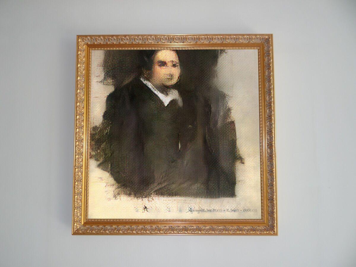 Portrait of Edmond de Belamy, 2018, Generative Adversarial Network print, on canvas, published by Obvious Art, Paris, with original gilded wood frame. Image © Obvious, courtesy Christie's.