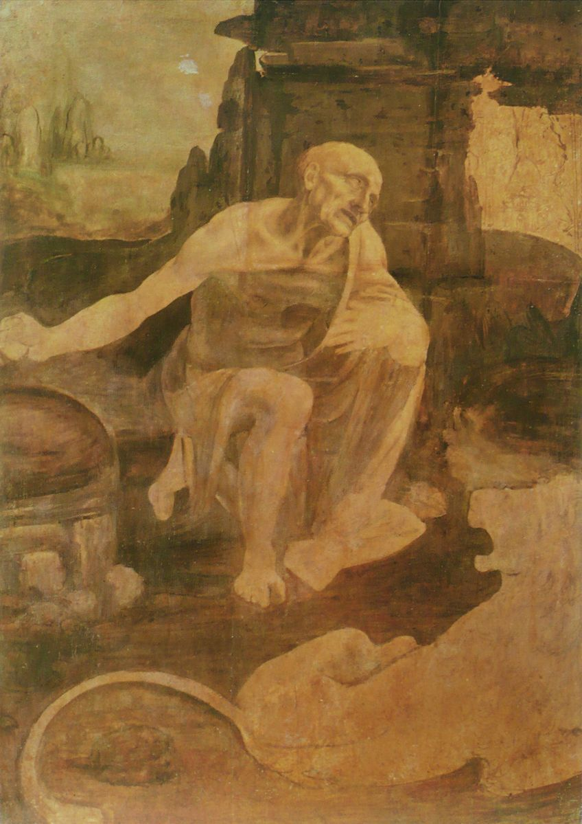 Leonardo da Vinci, St. Jerome in the Wilderness, c. 1482. Vatican Museum. Photo via Wikimedia Commons.
