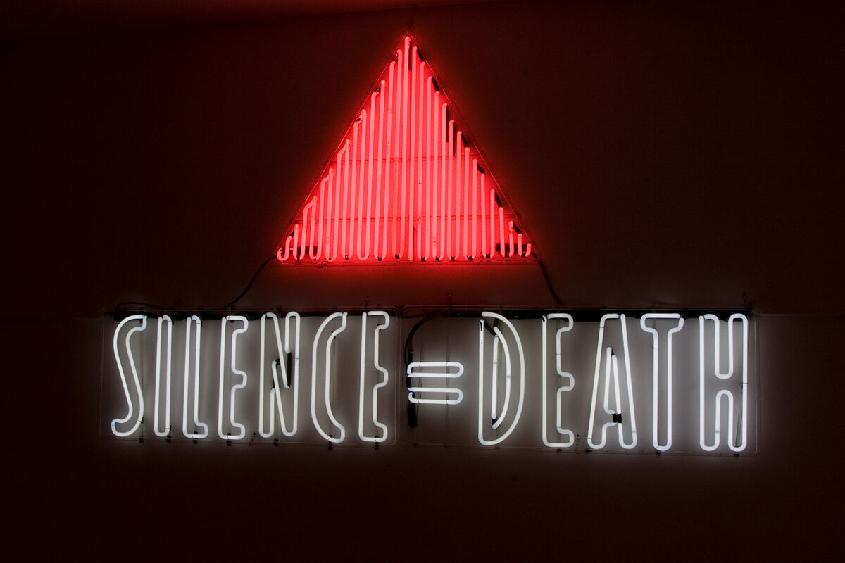 ACT UP (Gran Fury), SILENCE = DEATH, 1987. Courtesy of New Museum, New York. William Olander Memorial Fund.