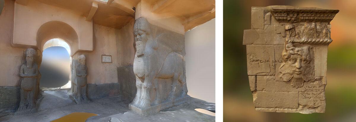 Left:Nimrud Entrance, Nimrud, Iraq; Right:Hatra Relief, Nimrud, Iraq. Images courtesy of Rekrei.