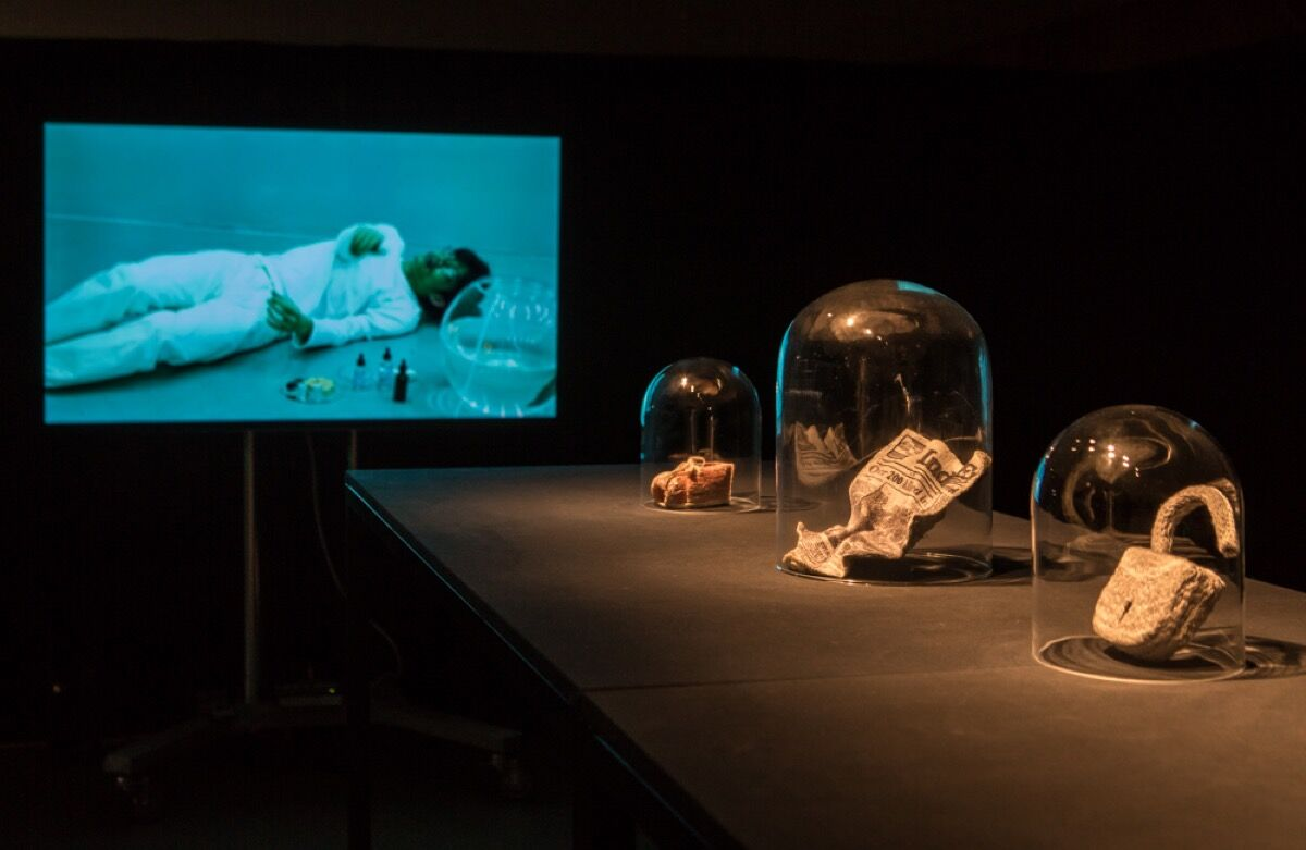 """Installation view of """"The Exhaustion Project"""" in Forecast Festival, HKW Berlin, 2018. Photo by Laura Fiorio. Courtesy of Forecast ."""