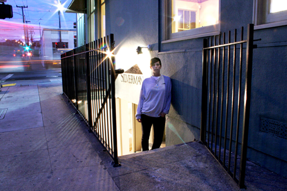 Portrait of Jessica Silverman at her basement gallery in San Francisco's Dogpatch neighborhood in 2006. Courtesy of Jessica Silverman Gallery.