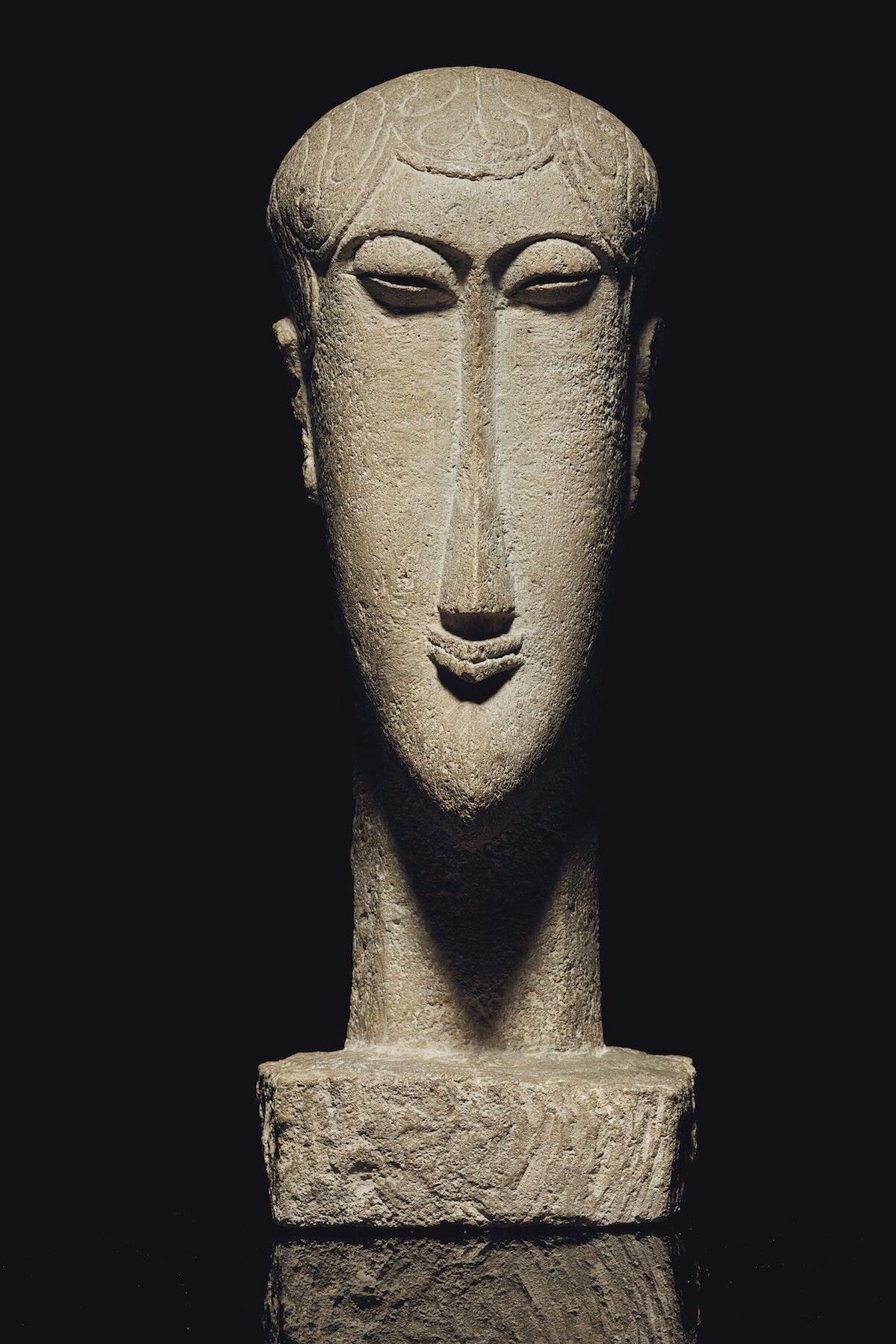 Amedeo Modigliani, Tête, ca. 1911–12, limestone. Est. $30 million–$40 million. Courtesy Christie's.