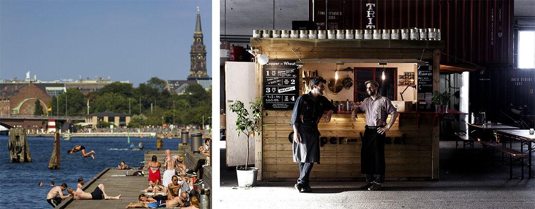 Copenhagen harbor.Photo Thomas Rousing. Copper and Wheat stand at Copenhagen Street Food. PhotoJacob Termansen. Courtesywww.copenhagenmediacenter.com.