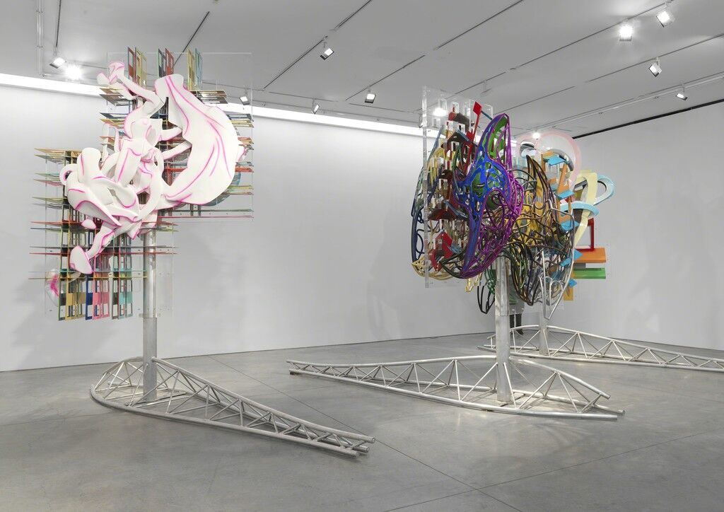 "Installation view of ""Frank Stella: Recent Work,"" at Marianne Boesky Gallery, 2019. © 2019 Frank Stella / Artists Rights Society (ARS). Courtesy of Marianne Boesky Gallery. Photo by Object Studies."