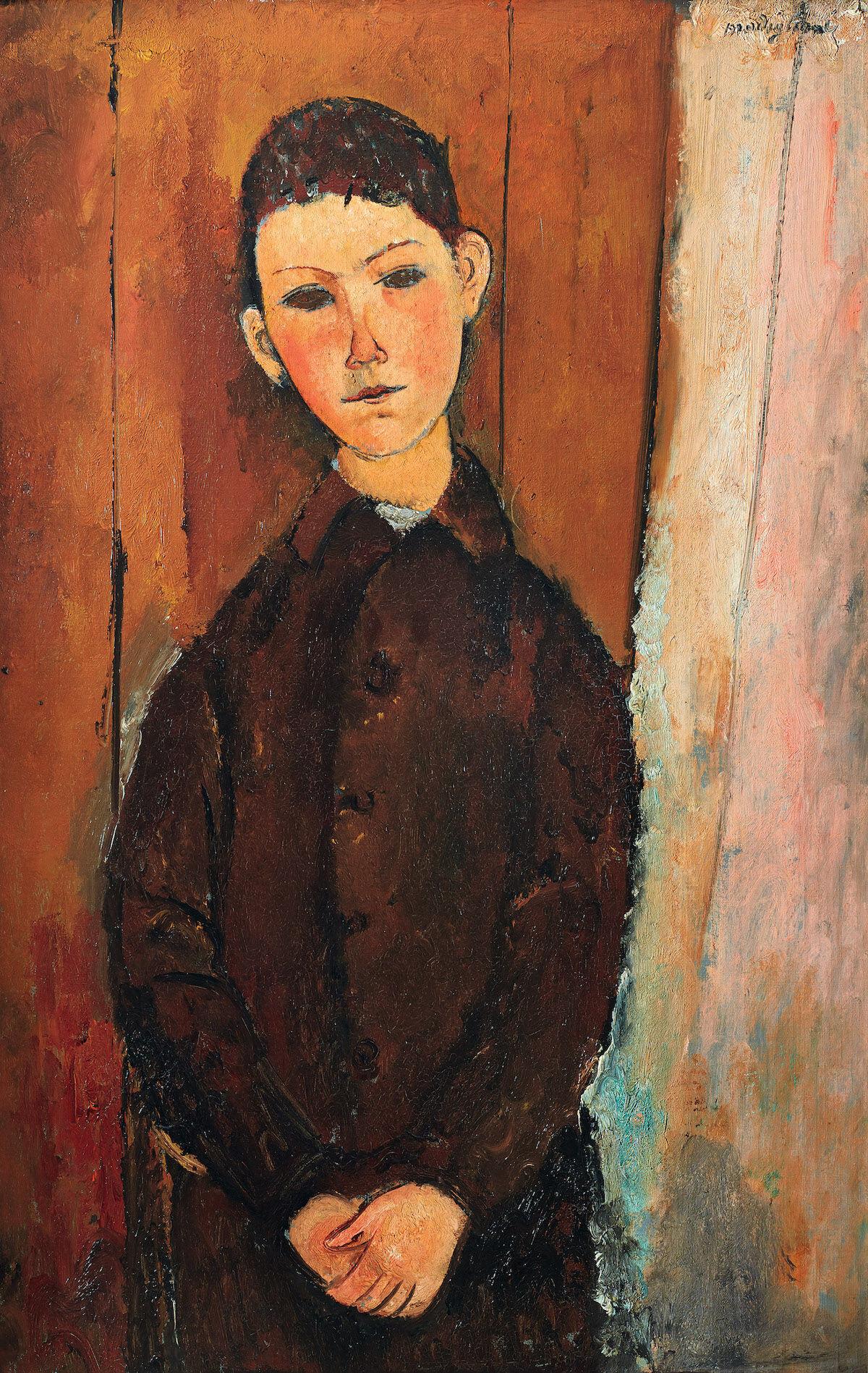 Amedeo Modigliani, Jeune homme assis, les mains croisées sur less genoux, 1918, oil on canvas. Est. £16 million–24 million. Courtesy Sotheby's.