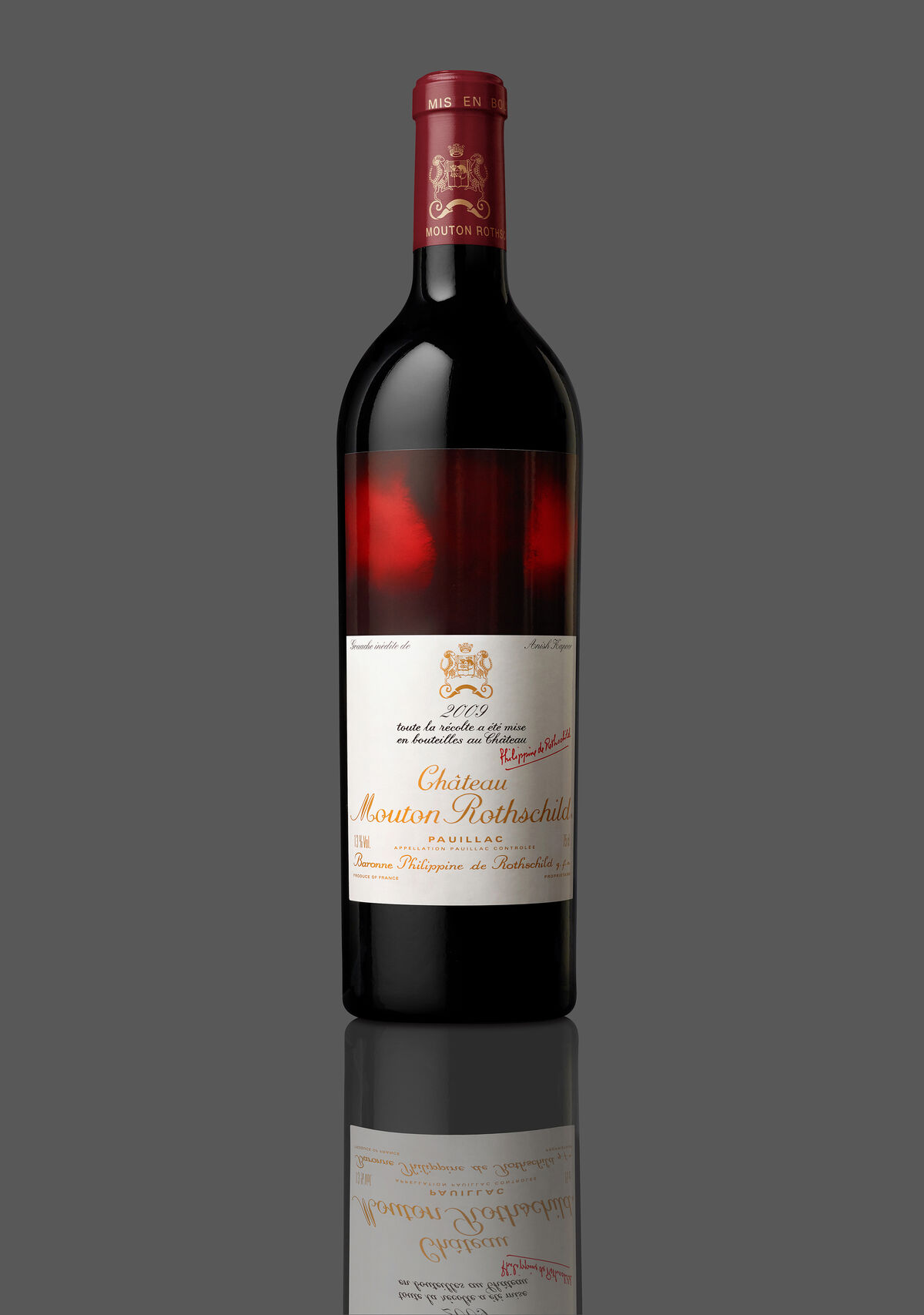 Anish Kapoor designed wine label for Château Mouton Rothschild. Image courtesy of Château Mouton Rothschild.