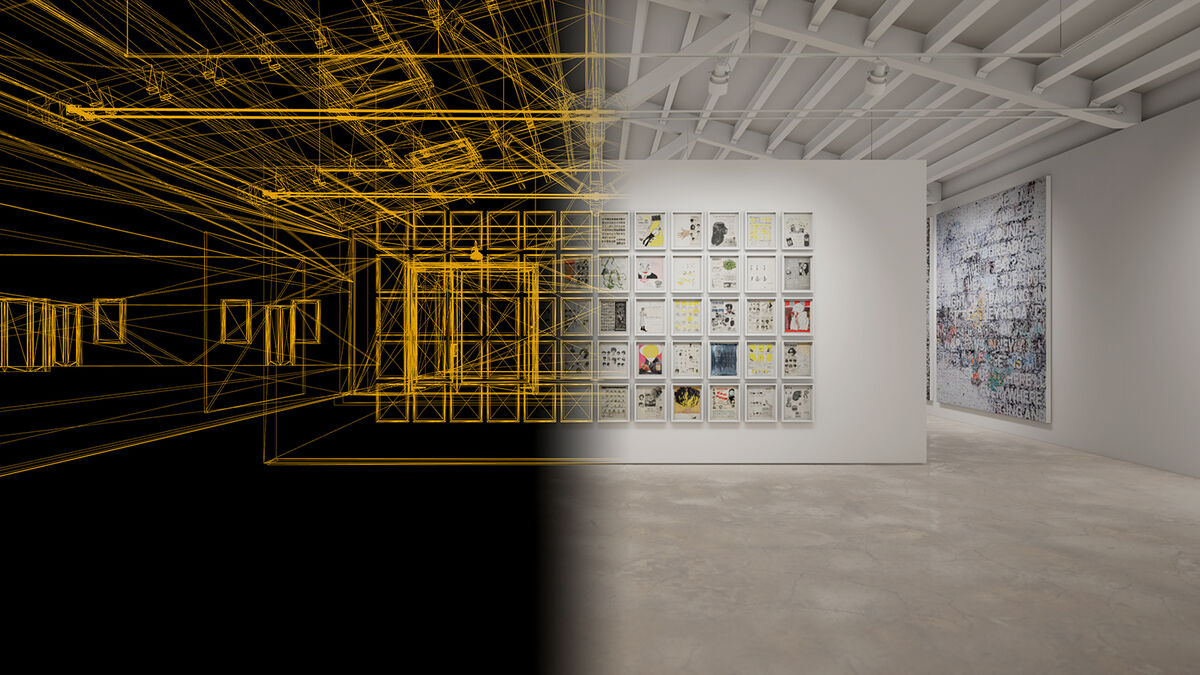 ArtLab, in software installation view of Ellen Gallagher's DeLuxe, 2004-05, and Mark Bradford's Chicago, 2019, created in HWVR. © the artists. Courtesy of the artists and Hauser & Wirth.