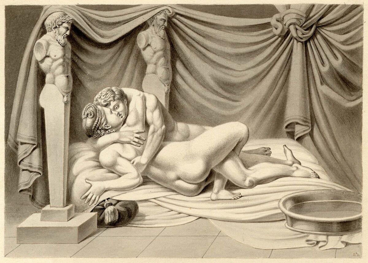 "Marcantio Raimondi after Giulio Romano, engraving from ""I modi,"" 16th century. © The Trustees of the British Museum. Courtesy of the British Museum."