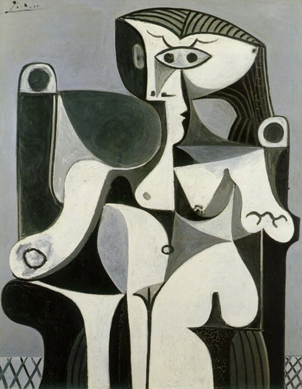 Pablo Picasso, Femme assise (Jacqueline), 1962. © Estate of Pablo Picasso / Artists Rights Society (ARS), New York. Courtesy the Donald B. Marron Family Collection, Acquavella Galleries, Gagosian, and Pace Gallery.