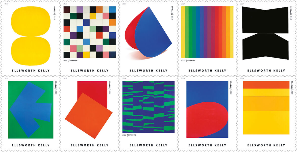 The new United States Postal Service stamps honoring Ellsworth Kelly. Courtesy United States Postal Service.
