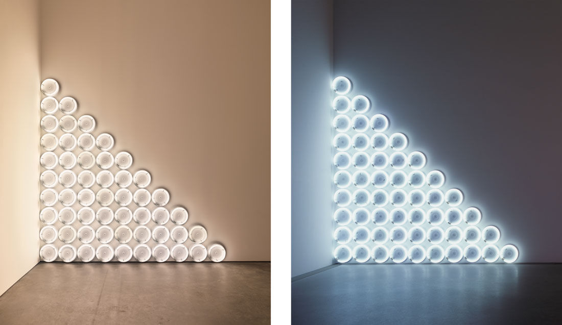 Left: Dan Flavin, untitled (to a man, George McGovern) 2, 1972. © 2015 Stephen Flavin/Artists Rights Society (ARS), New York; courtesy David Zwirner, New York/London. Right: Dan Flavin, untitled (to a man, George McGovern) 1, 1972. © 2015 Stephen Flavin/Artists Rights Society (ARS), New York; courtesy David Zwirner, New York/London.