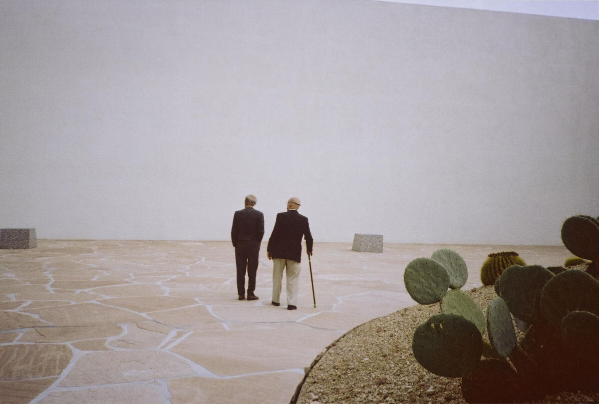 Isamu Noguchi and Buckminster Fuller at Noguchi's California Scenario, Costa Mesa, CA, c.1982. ©The Isamu Noguchi Foundation and Garden Museum, New York / Artists Rights Society [ARS].