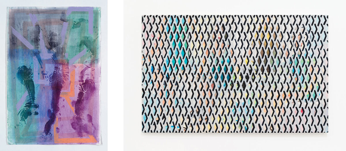 Left: Keltie Ferris,To be titled,2016.Courtesy of the artist and Mitchell-Innes & Nash, New York. Right:Becky Kolsrud,Group Portrait with Security Gate,2015.Courtesy of the artist and JTT.