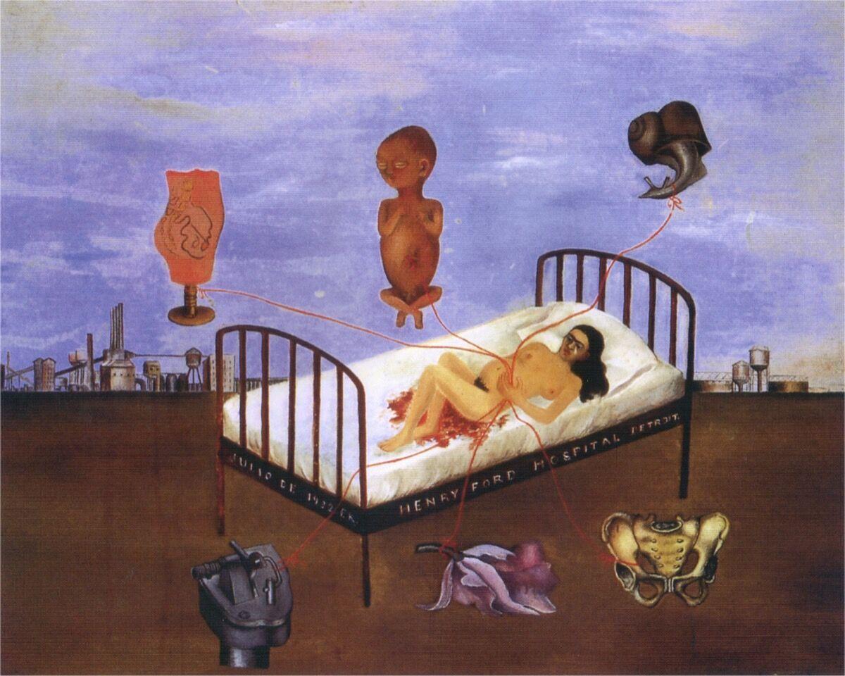 Frida Kahlo, Henry Ford Hospital (la camo volando), 1932.Collection of Dolores Olmedo Mexico City, Mexico.