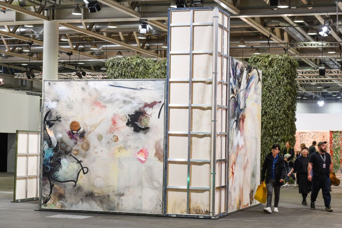 Installation view of Lucy Dodd, David Lewis Gallery's booth at Art Basel, 2019. Courtesy of Art Basel.