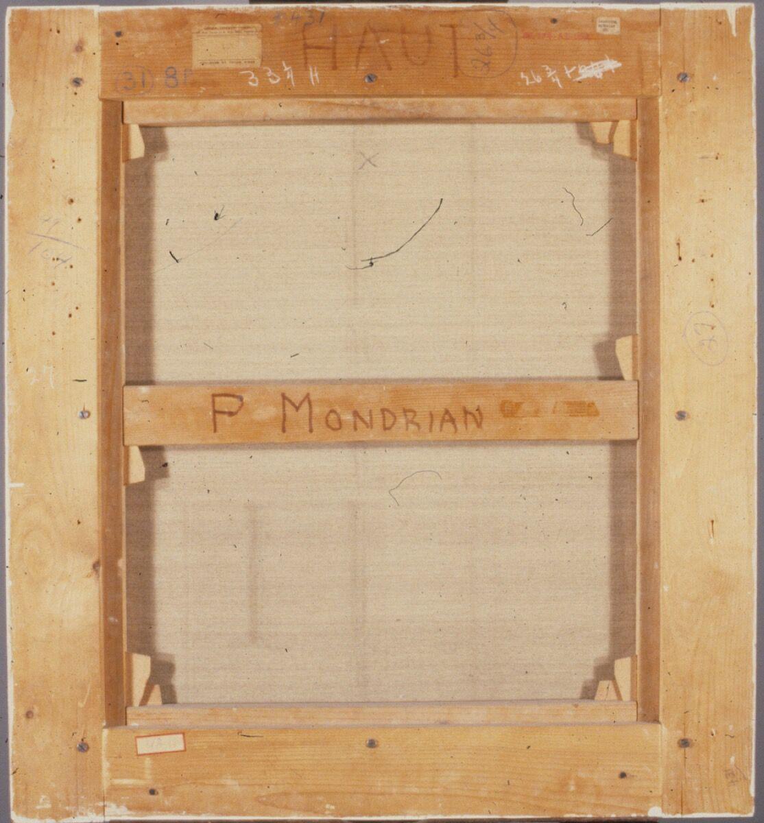 Verso of Piet Mondrian, Composition, 1936. Courtesy of the Philadelphia Museum of Art.