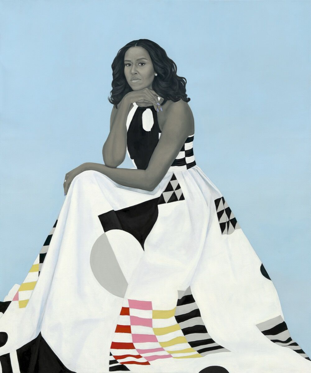 Amy Sherald, Michelle LaVaughn Robinson Obama, 2018. Courtesy of the National Portrait Gallery, Washington D.C.