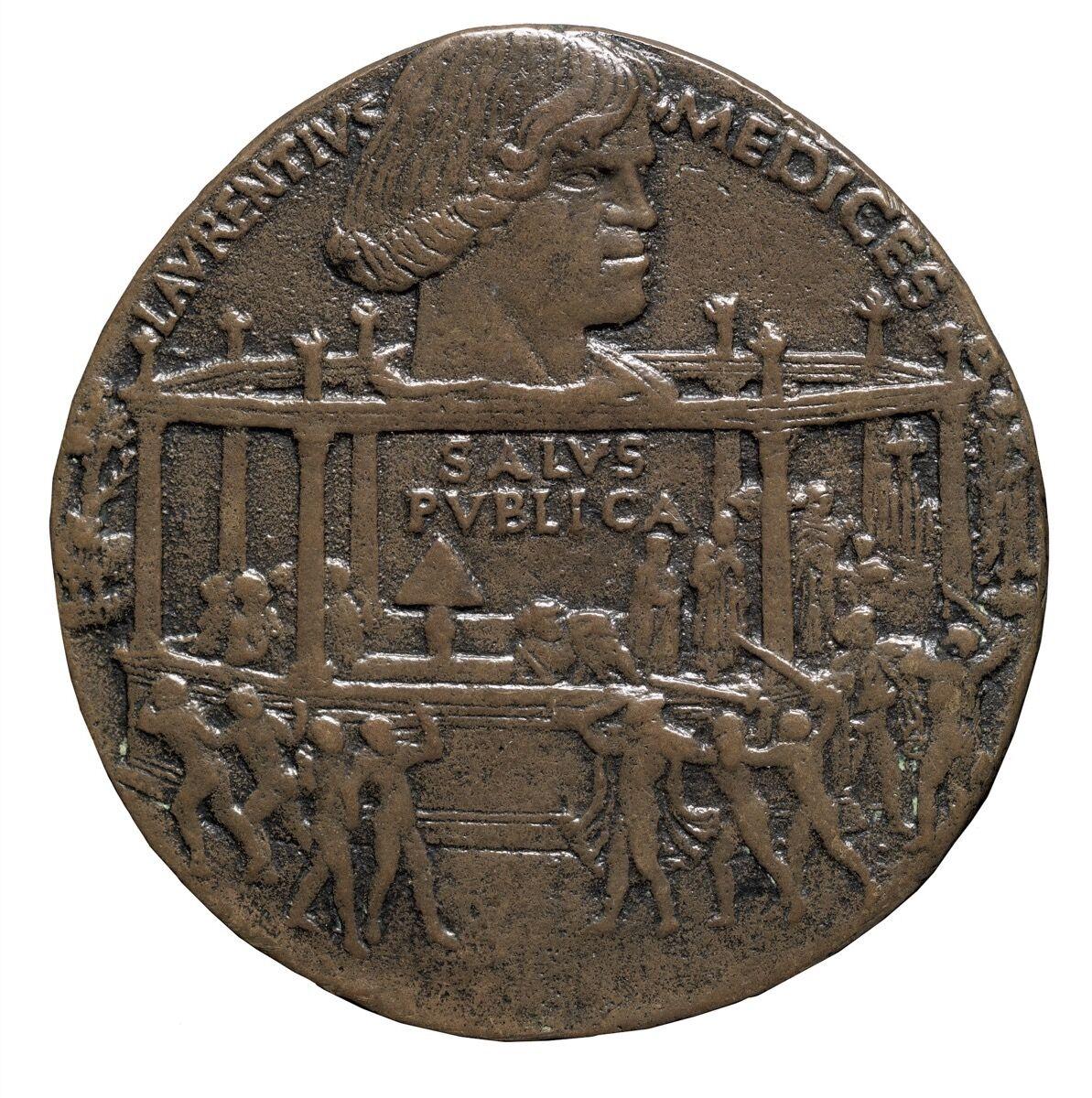 Bertoldo di Giovanni, medal commemorating The Pazzi Conspiracy (Lorenzo de' Medici), 1478. Photo by Mauro Magliani. Courtesy of the Frick Collection, New York.