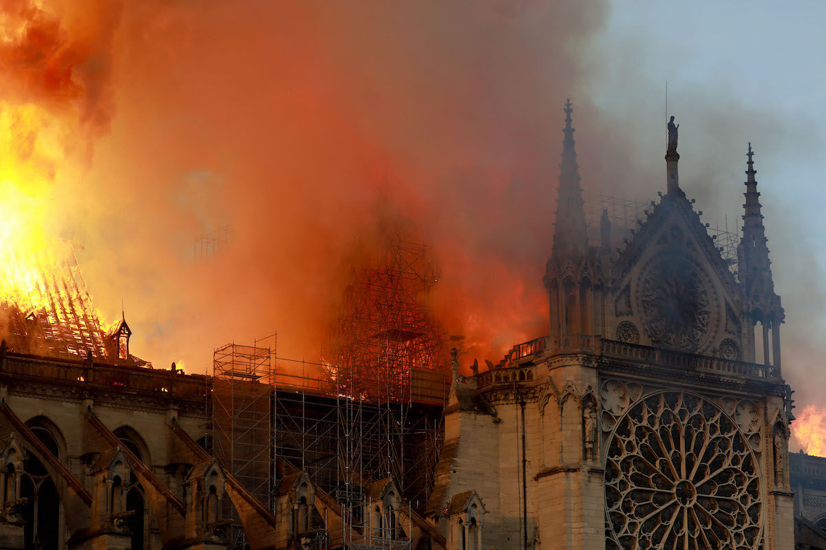 Notre Dame Cathedral in flames on April 15, 2019. Photo by Pierre Suu/Getty Images.