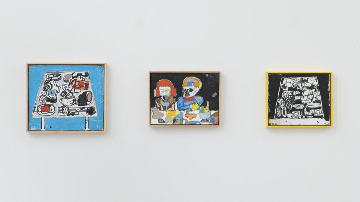 """Eddie Martinez, installation view of """"Homework"""" at Mitchell-Innes & Nash, New York, 2020. © Eddie Martinez. Courtesy of the artist and Mitchell-Innes & Nash, New York."""