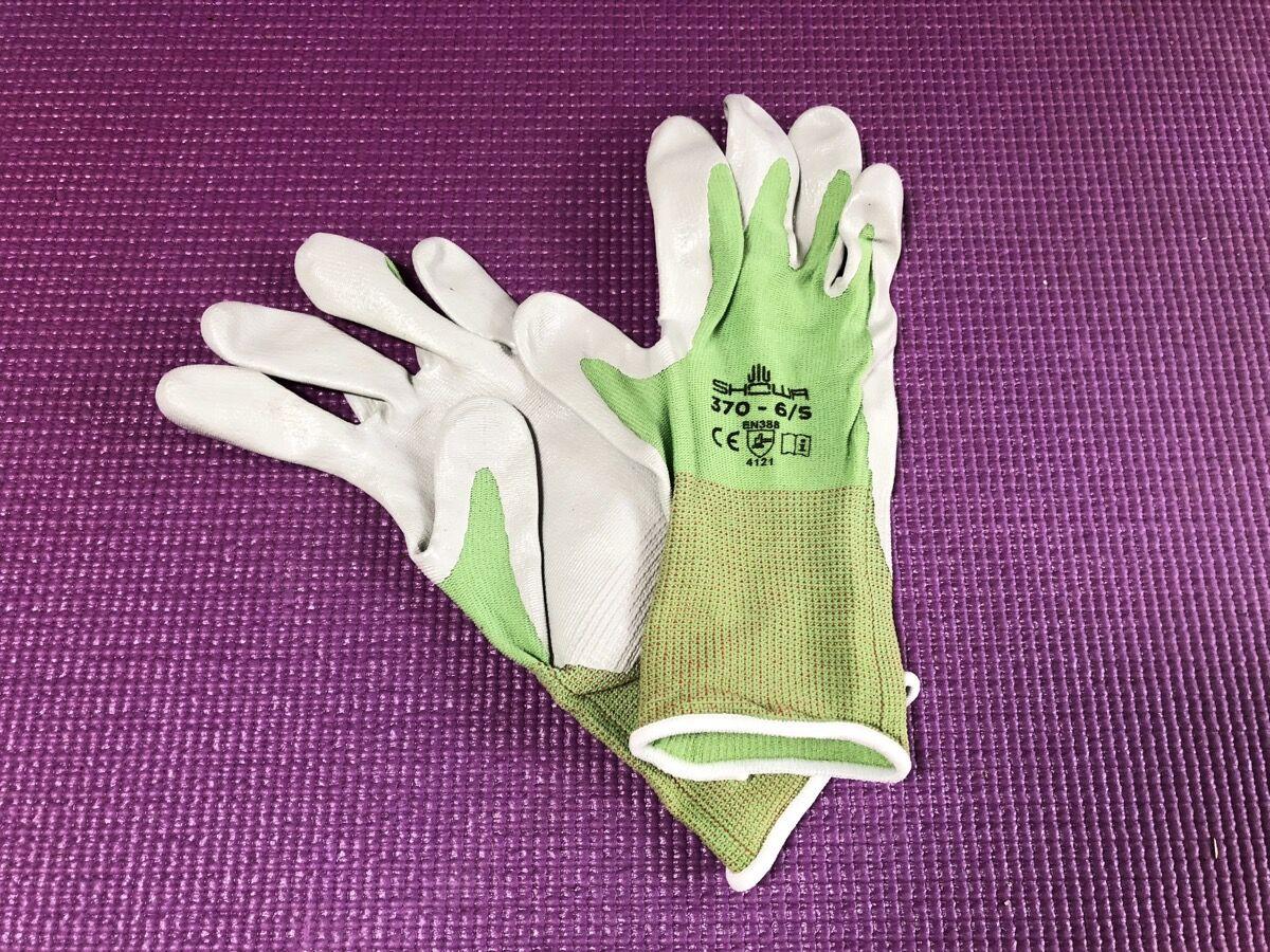 Nitrile-coated gloves.