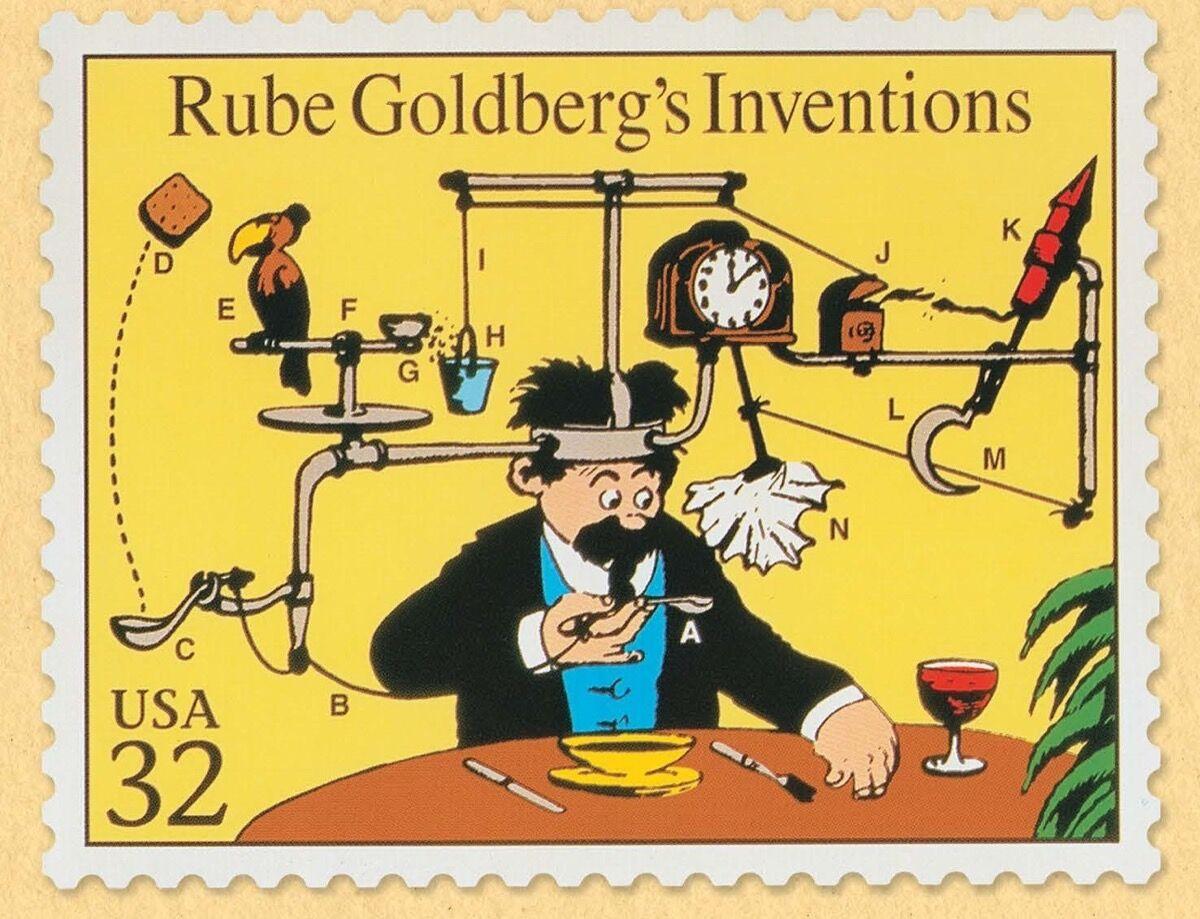 Rube Goldberg, Rube Goldberg Inventions Sello del Servicio Postal de los Estados Unidos, fecha desconocida.  © Rube Goldberg Inc. Cortesía del Museo Nacional de Historia Judía Americana.