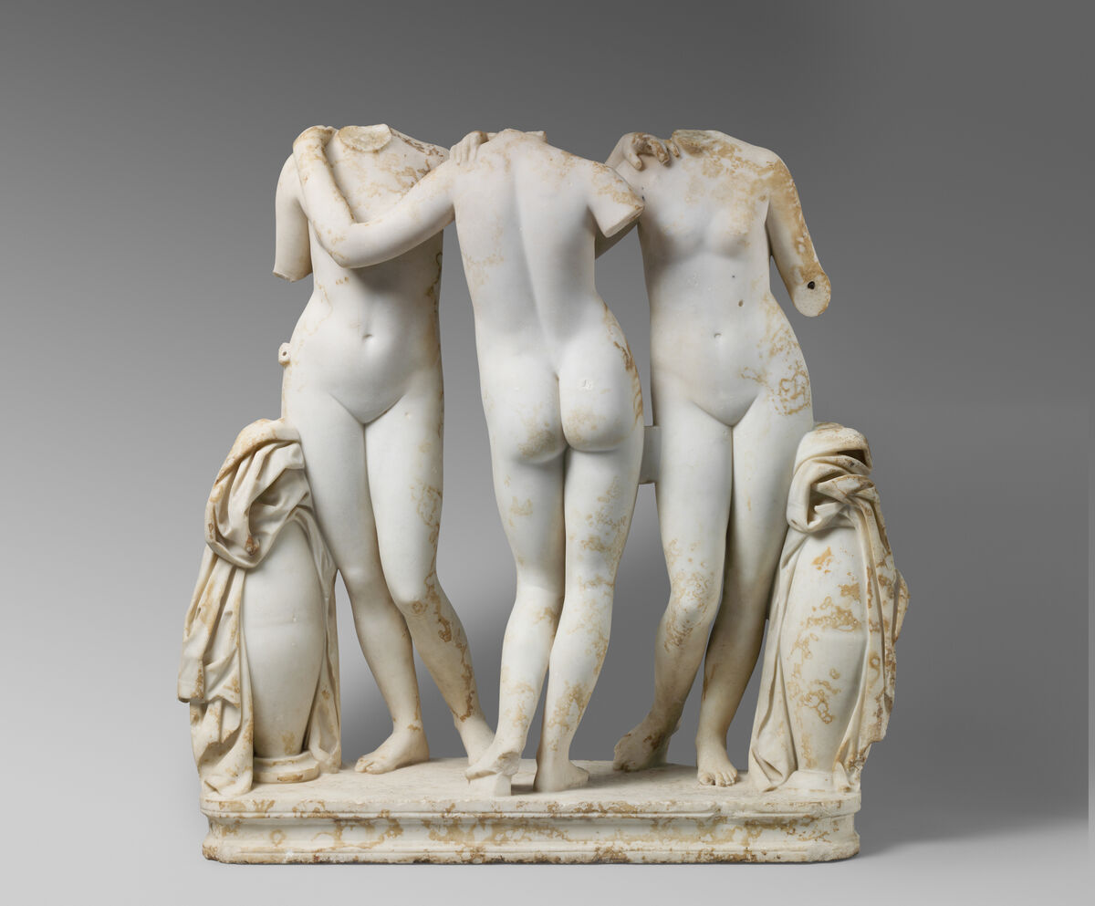 Marble Statue Group of the Three Graces,  2nd century A.D. Roman copy of a Greek work of the 2nd century B.C. Courtesy of The Metropolitan Museum of Art.