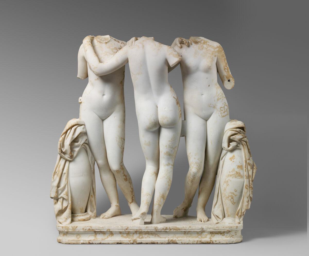 Estatua de mármol Grupo de las Tres Gracias, siglo II d. C. Copia romana de una obra griega del siglo II a. C. Cortesía del Museo Metropolitano de Arte.