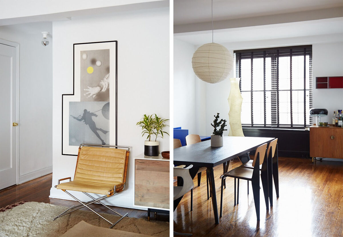 John Baldessari print, Ward Bennett chair, BDDW credenza;Jean Prouvé table and chairs, Isamu Noguchi ceiling light, Achille Castiglioni table light. Photos by Emily Johnston for Artsy.