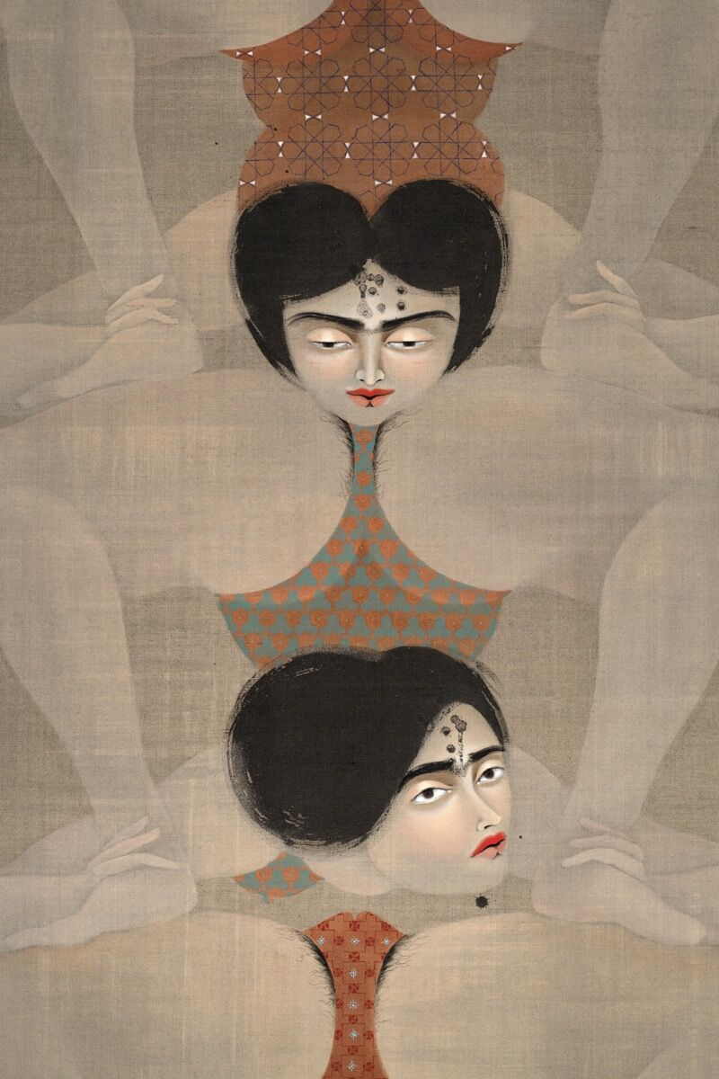 Hayv Kahraman, detail of The Tower , 2019. © Hayv Kahraman. Courtesy of the artist and Jack Shainman Gallery, New York.