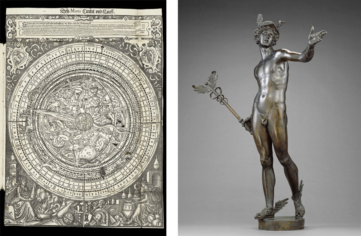 Left: Peter Hille, Calculating Celestial Movement. Image courtesy of the Getty Research Institute. Right: Johann Gregor van der Schardt, Mercury, ca. 1570-1580. Image courtesy of the J. Paul Getty Museum, L.A.