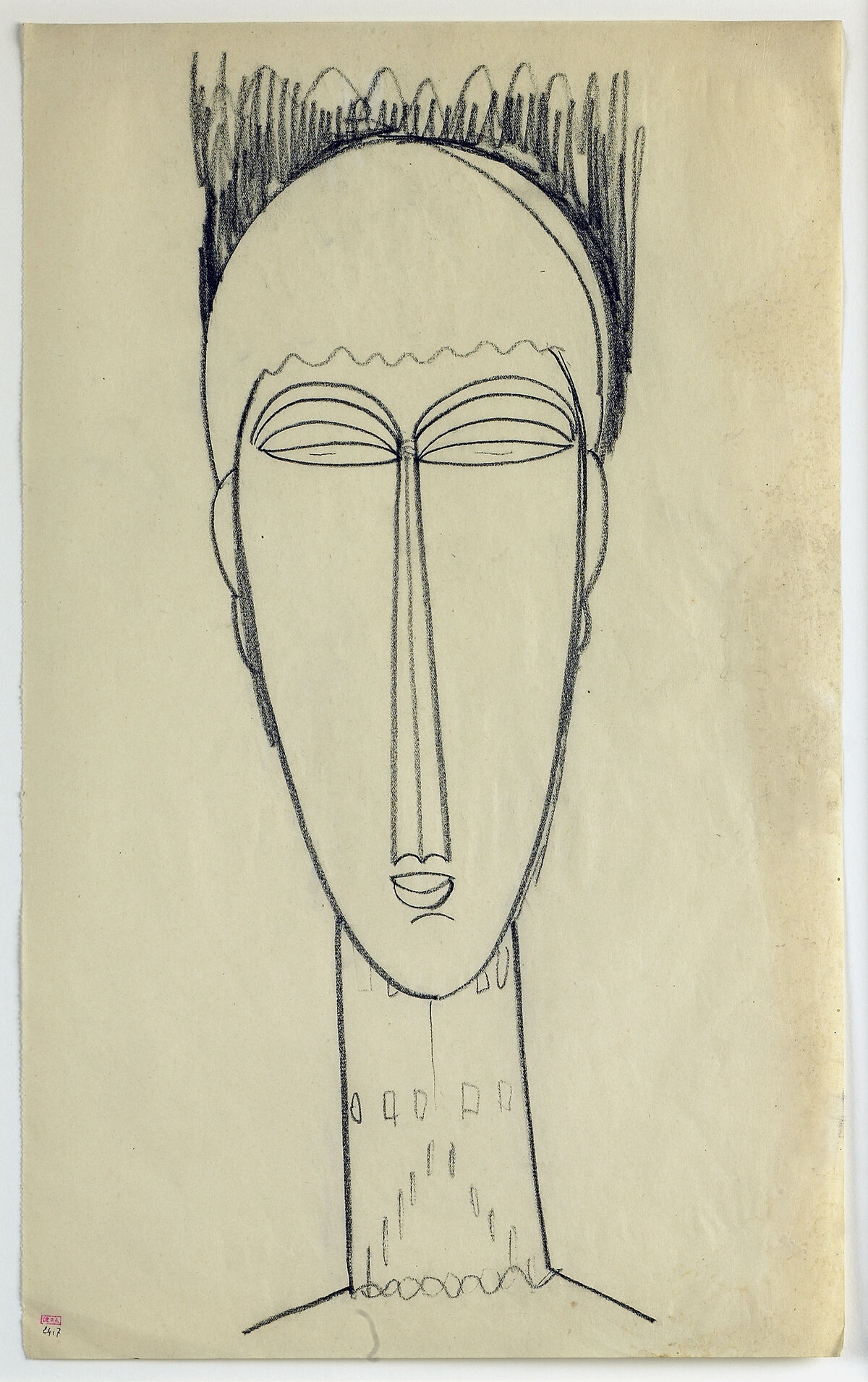 Amedeo Modigliani, Head, c. 1911. Musée des Beaux-Arts, Rouen, Gift of Blaise Alexandre, 2001. Courtesy of the Jewish Museum.