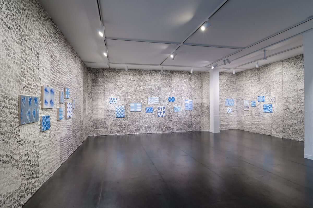 "Installation view of ""Julie Green: My New Blue Friends"" at Upfor, Portland, Oregon. Courtesy of Upfor and the artist."