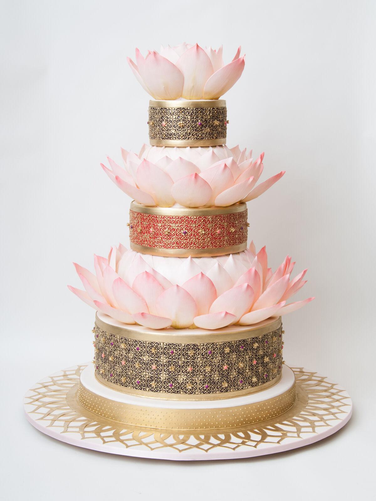 Pink lotus wedding cake by Ron Ben-Israel Cakes. Photo courtesy of Ron Ben-Israel Cakes.