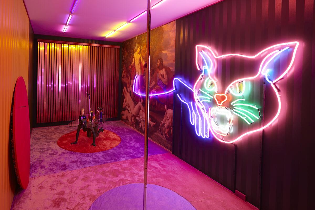 Installation view of Alex Da Corte,Die Hexe, 2015. Photo by John Bernardo, Courtesy of Luxembourg & Dayan, New York.