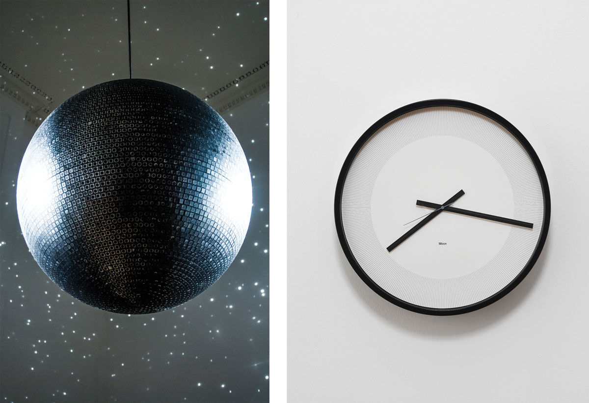 Left: Katie Paterson, Totality, 2016. Right: Katie Paterson, Timepieces (Solar System), 2014. Images courtesy of the artist and James Cohan, New York.
