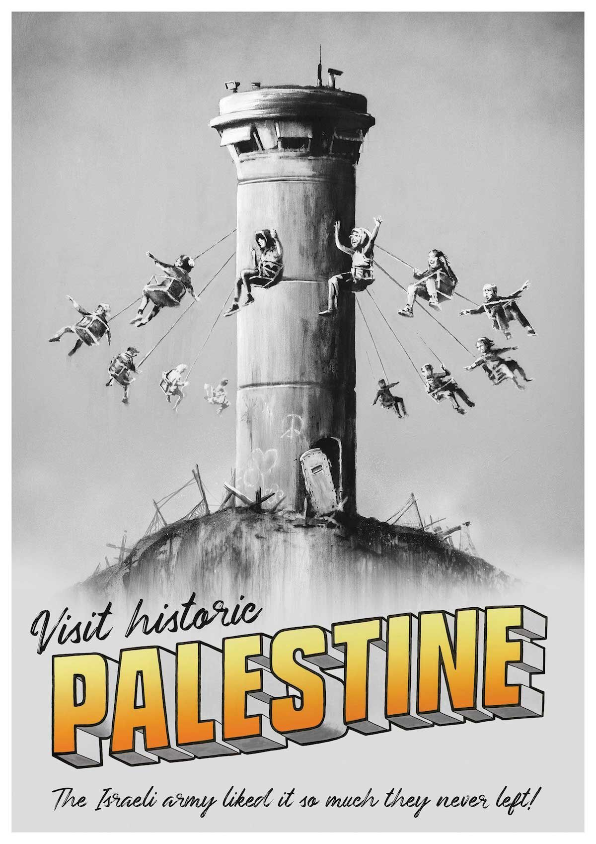 Palestine poster by Banksy. Courtesy the artist, via banksy.co.uk.
