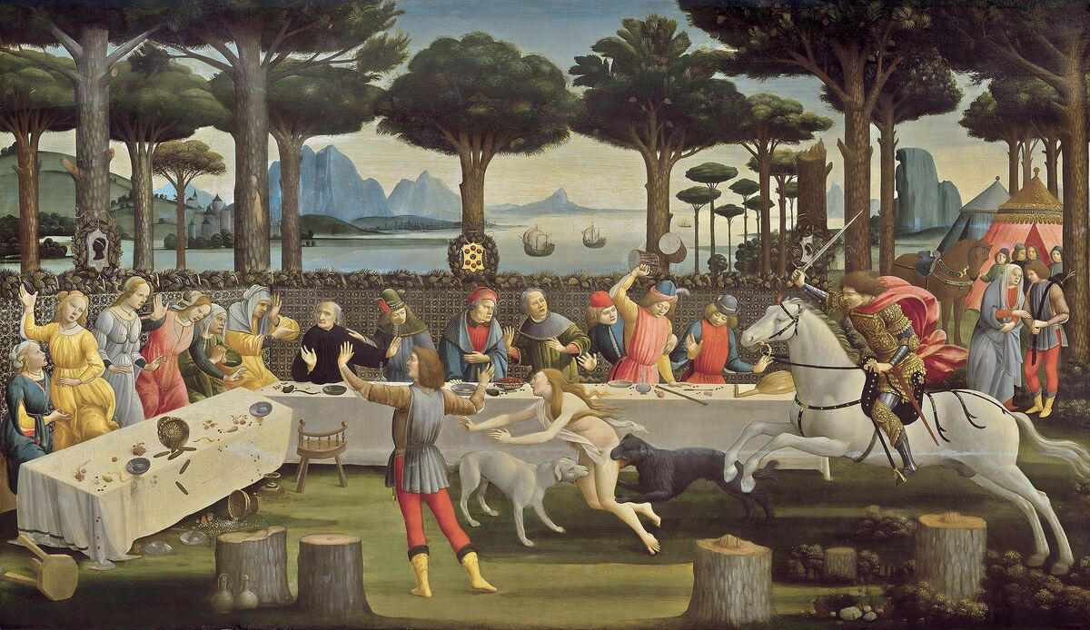 Sandro Botticelli, La historia de Nastagio degli Onesti III, ca.  1483. Imagen a través de Wikimedia Commons.