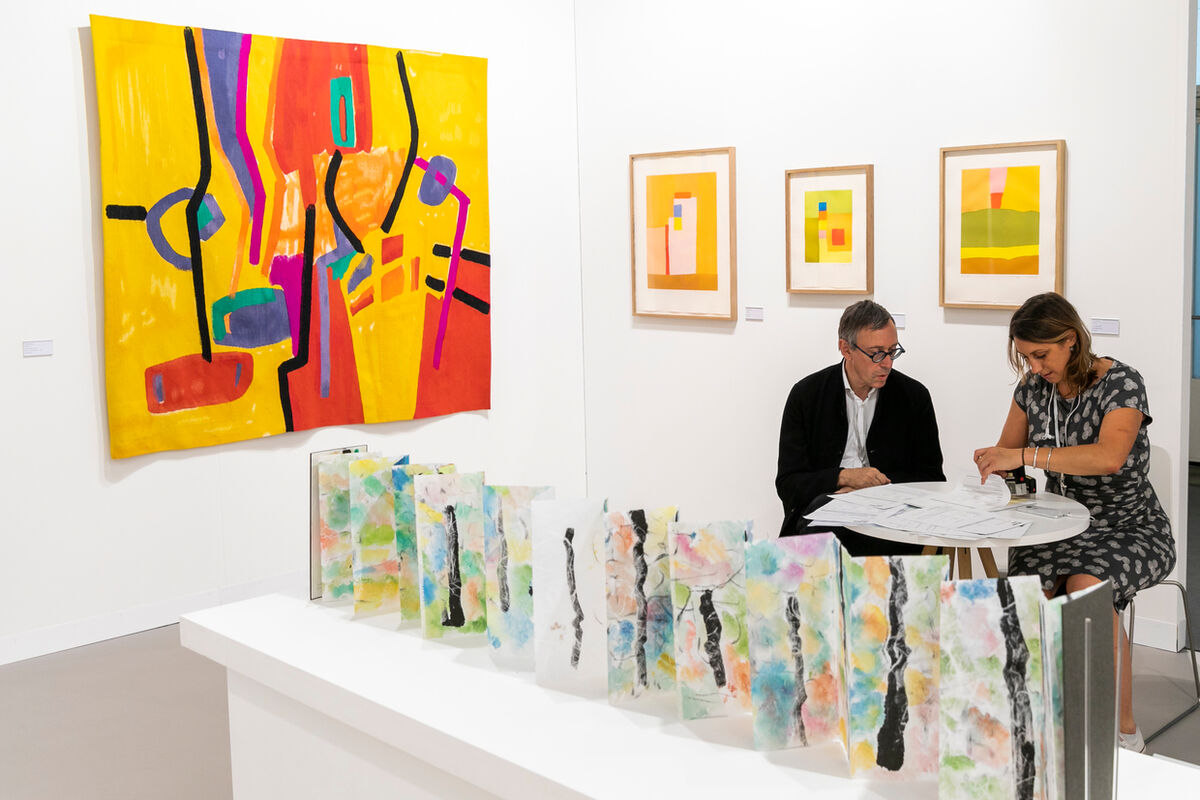 Installation view of work by Etel Adnan at Lelong Editions's booth at Art Basel in Basel, 2018. Courtesy of Art Basel.