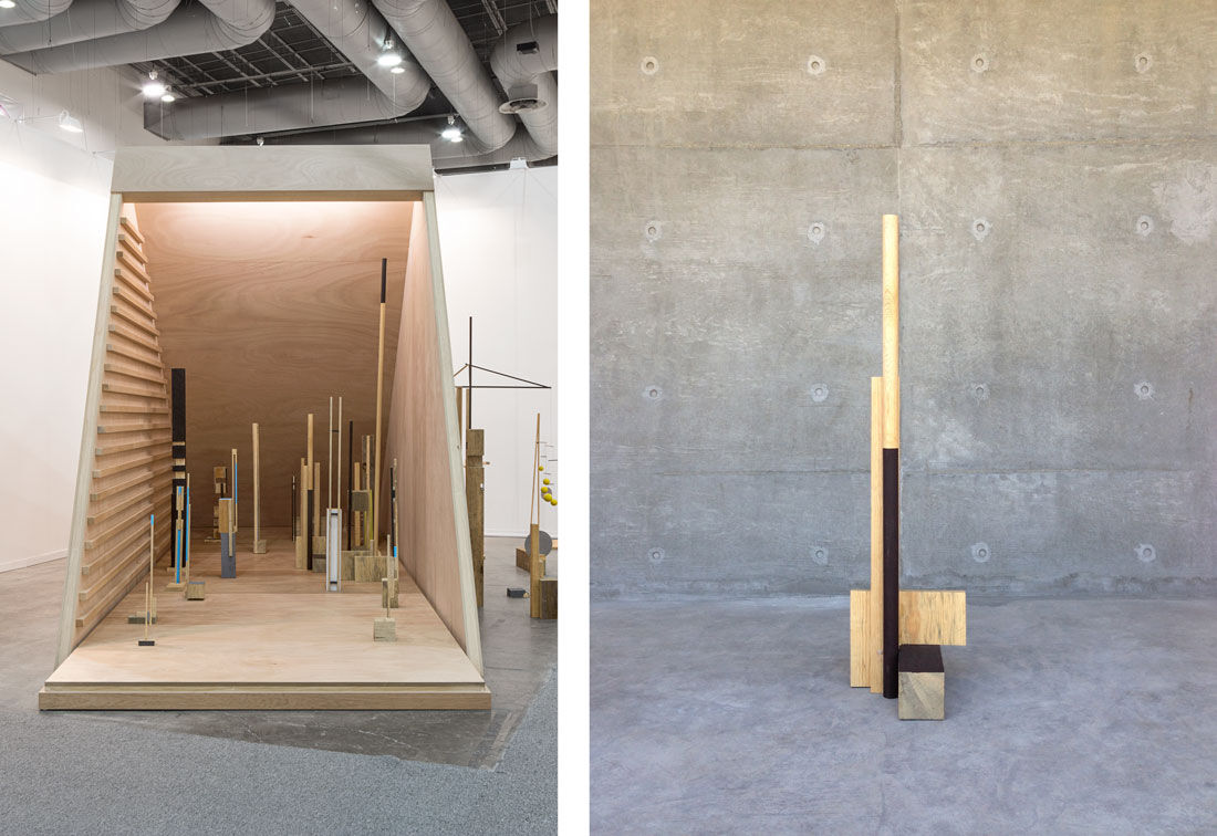Right: Installation view of Andréhn-Schiptjenko's booth at ZsONA MACO 2016. Right: Xavier Veilhan, Stabile no. 1, 2016. Photos courtesy of Andréhn-Schiptjenko.