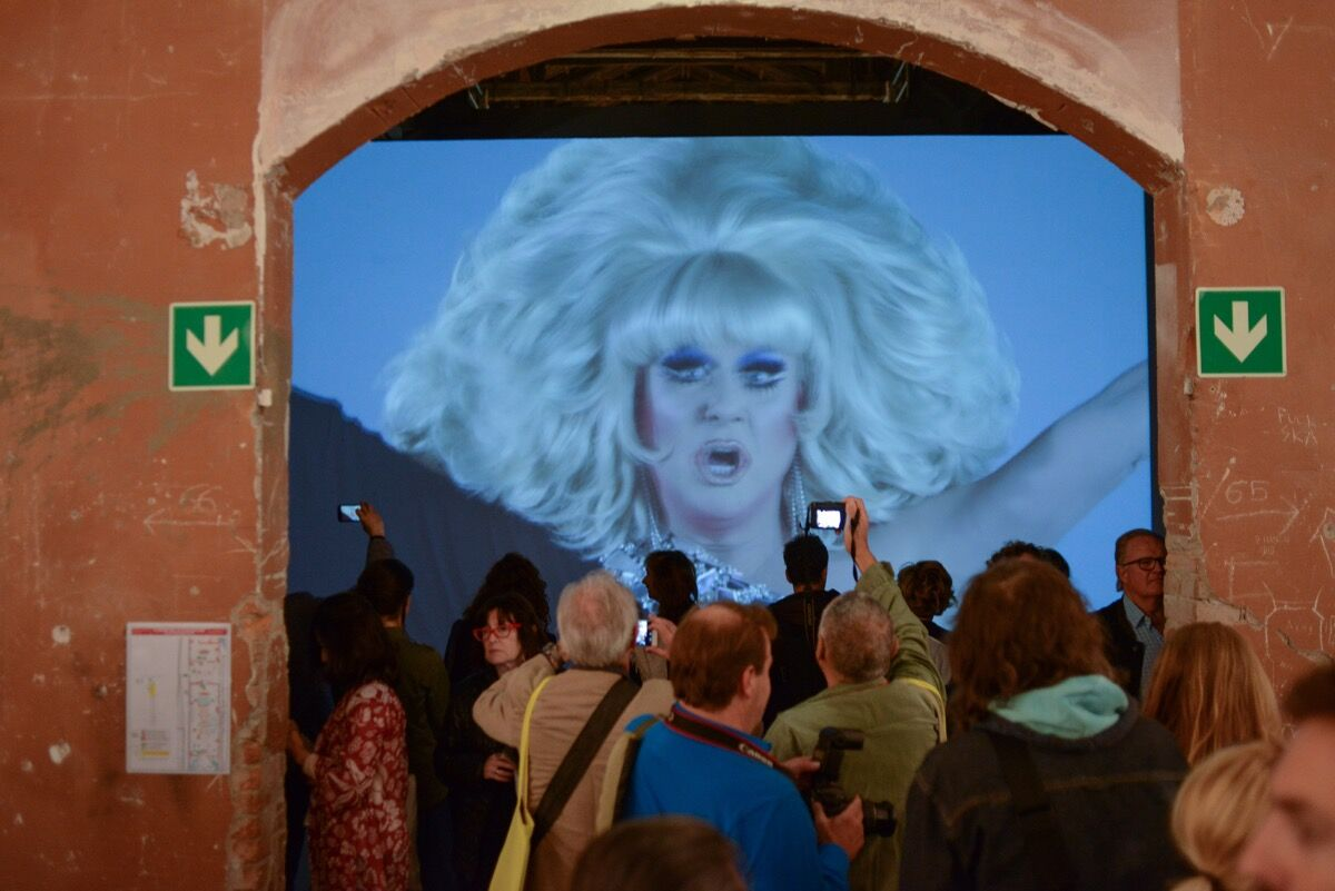 """Installation view of work by Charles Atlas in """"Viva Arte Viva"""" at the 57th Venice Biennale, 2017. Photo by Casey Kelbaugh for Artsy."""