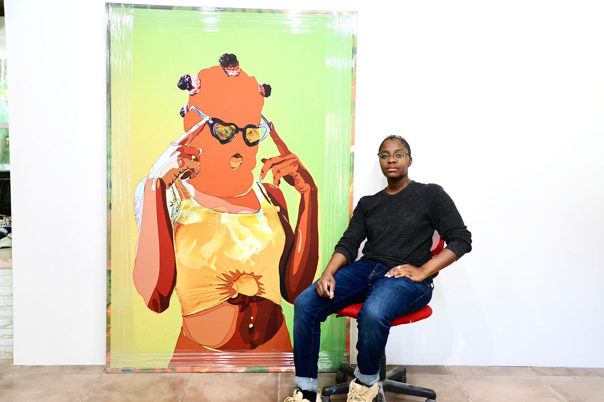 Portrait of Amani Lewis with What it do Baby!? (portrait of Baby Kahlo), 2020. Photo by Alex Nunez. Courtesy of the artist and Fountainhead Residency.