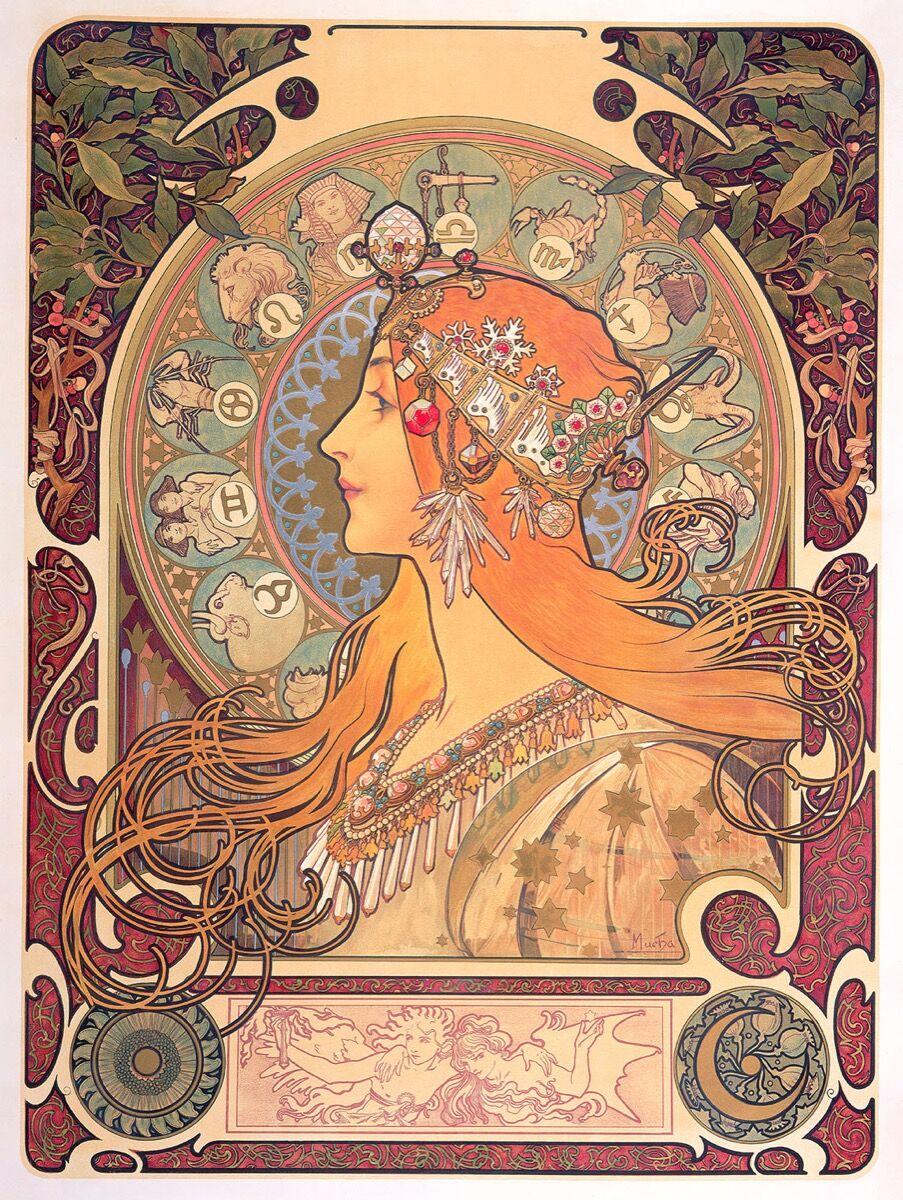 Alphonse Mucha, Le Zodiaque, 1896. © Mucha Trust 2018.