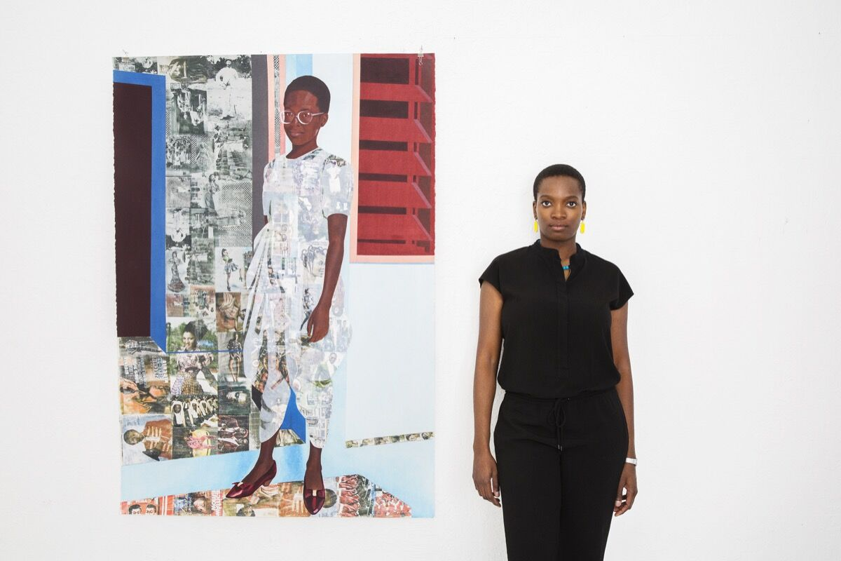 Portrait of Njideka Akunyili Crosby by Brigitte Sire.