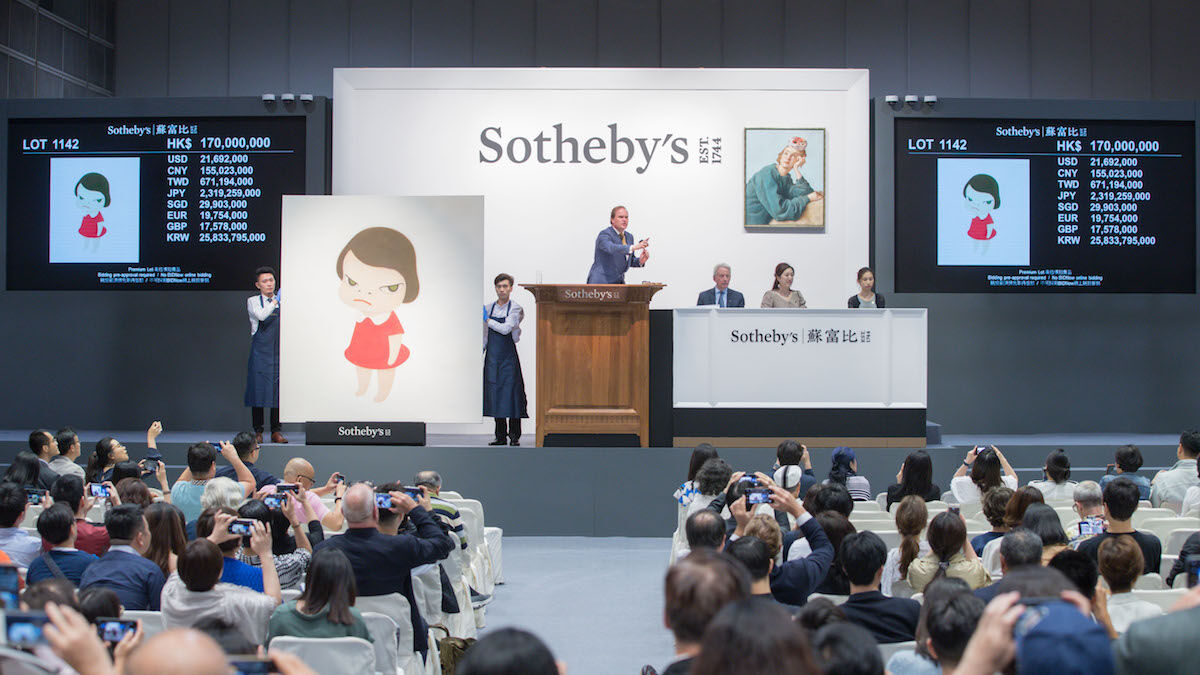 A Sotheby's sale in Hong Kong in October 2019 set a new auction record for a work by Yoshitomo Nara. Photo courtesy Sotheby's.